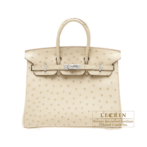 Hermes Birkin bag 25 Parchemin Ostrich leather Silver hardware