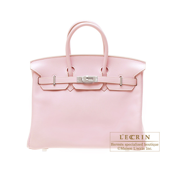 Hermes Birkin bag 25Rose dragee/Baby pink Swift leather Silver hardware