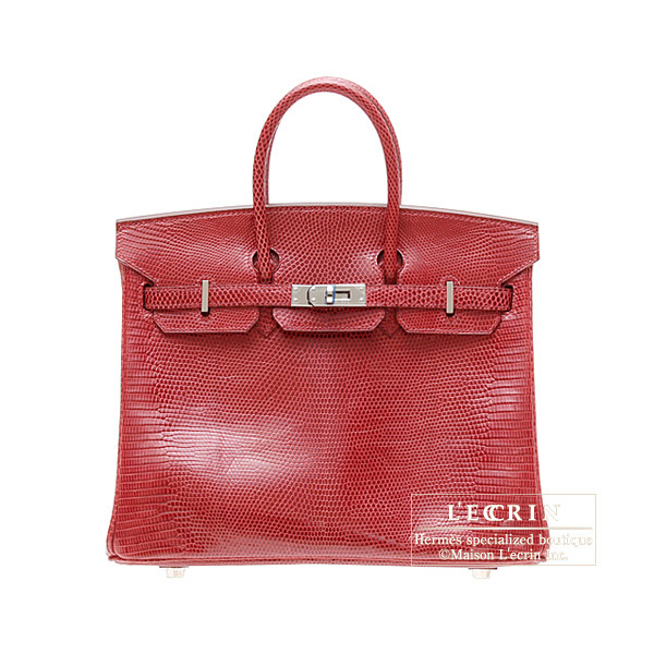 Hermes Birkin bag 25Rouge moyen/Middle red Lizard skin Silver hardware