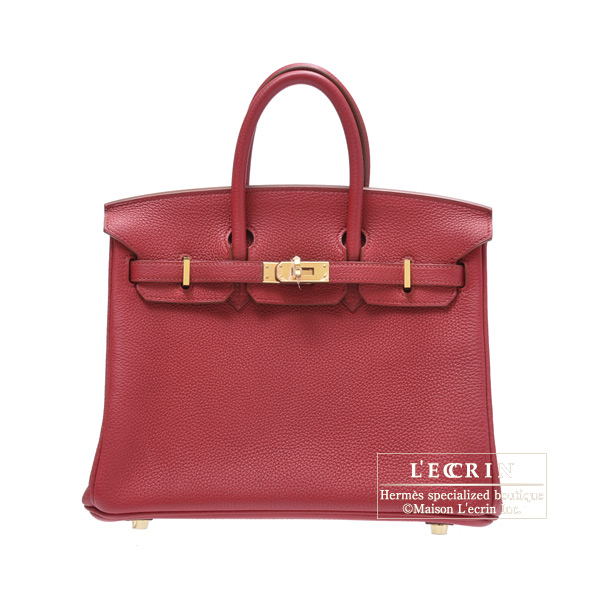 Hermes Birkin bag 25Ruby Togo leatherGold hardware
