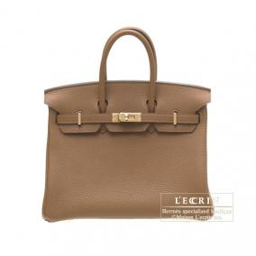 Hermes Birkin bag 25 Alezan/Chestnut brown Togo leather Gold hardware