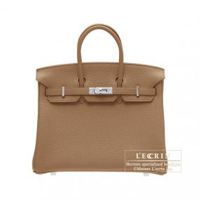 Hermes Birkin bag 25 Alezan/Chestnut brown Togo leather Silver hardware