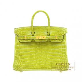 Hermes Birkin bag 25 Anis green niloticus crocodile skin Gold hardware