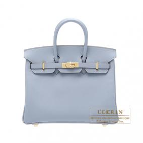 Hermes Birkin bag 25 Bleu lin/Linen blue Epsom leather Gold hardware