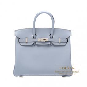 Hermes Birkin bag 25 Bleu lin/Linen blue Epsom leather Silver hardware