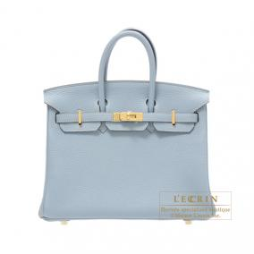 Hermes Birkin bag 25 Bleu lin/Linen blue Togo leather Gold hardware