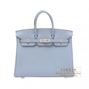 Hermes Birkin bag 25 Bleu lin/Linen blue Togo leather Silver hardware