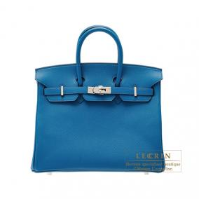 Hermes Birkin bag 25 Blue izmir Epsom leather Silver hardware