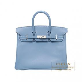 Hermes Birkin bag 25 Blue jean Epsom leather Silver hardware