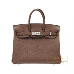 Hermes Birkin bag 25 Brulee/Brulee brown Togo leather Silver hardware