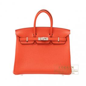 Hermes Birkin bag 25 Capucine/Capucine orange Togo leather Silver hardware