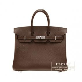 Hermes Birkin bag 25 Chocolat/Chocolate Epsom leather Silver hardware
