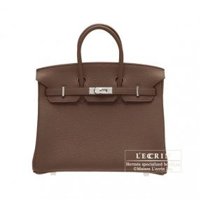 Hermes Birkin bag 25 Chocolat/Chocolate Togo leather Silver hardware