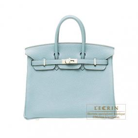 Hermes Birkin bag 25 Ciel/Sky blue Togo leather Silver hardware