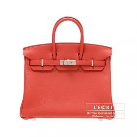 Hermes Birkin bag 25 Geranium/Geranium red Togo leather Silver hardware