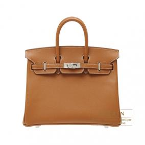 Hermes Birkin bag 25 Gold Epsom leather Silver hardware