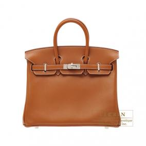 Hermes Birkin bag 25 Gold Swift leather Silver hardware