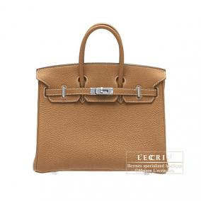 Hermes Birkin bag 25 Gold Togo leather Silver hardware