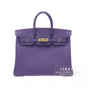 Hermes Birkin bag 25 Iris Epsom leather Gold hardware