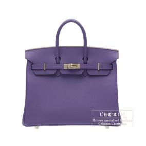 Hermes Birkin bag 25 Iris Epsom leather Silver hardware