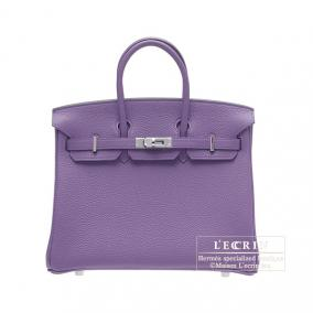 Hermes Birkin bag 25 Iris Togo leather Silver hardware