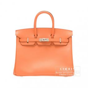 Hermes Birkin bag 25 Mango Epsom leather Silver hardware