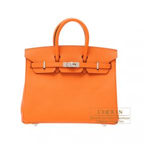 Hermes Birkin bag 25 Orange Epsom leather Silver hardware