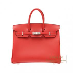 Hermes Birkin bag 25 Rouge casaque/Bright red Epsom leather Silver hardware