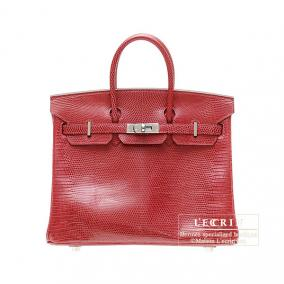 4e6a404620d Hermes Birkin bag 25 Rouge moyen Middle red Lizard skin Silver hardware