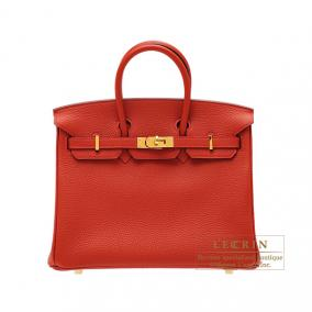 Hermes Birkin bag 25 Rouge vermillon/Vermilion red Togo leather Gold hardware