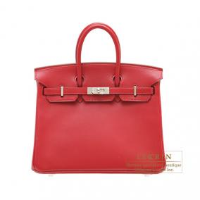 Hermes Birkin bag 25 Rouge vif/Bright red Tadelakt leather Silver hardware
