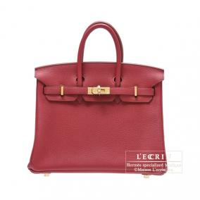Hermes Birkin bag 25 Ruby Togo leather Gold hardware