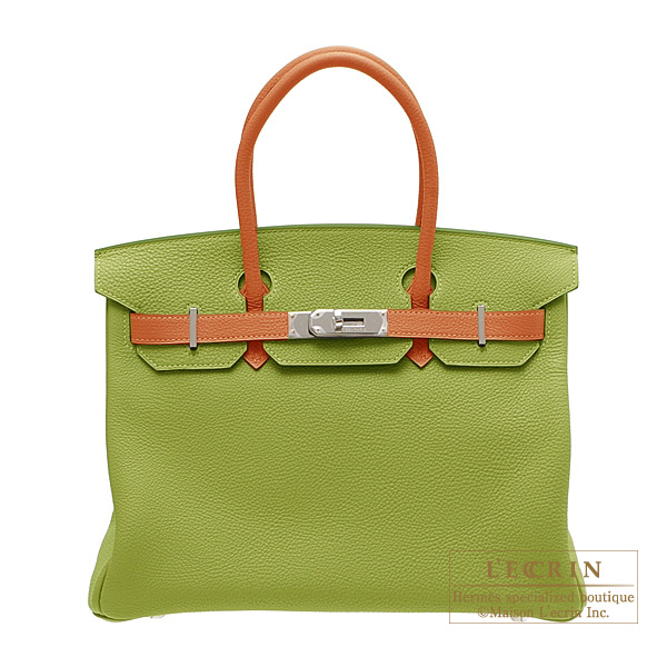 Hermes Birkin bag 30 Bi-color Anis green/Potiron orange Togo leather Silver hardware