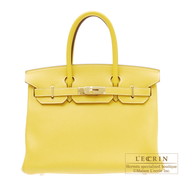 Hermes Birkin bag 30Bi-color Yellow/Tabac camel Clemence leather Gold hardware