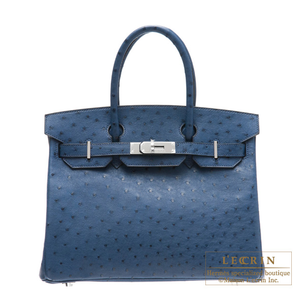 Hermes Birkin bag 30 Blue de malte/Dark blue Ostrich leather Silver hardware
