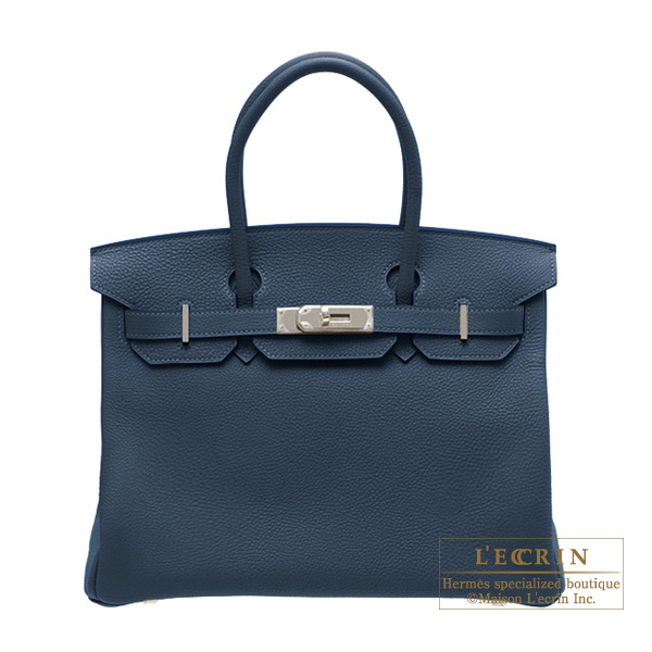 Hermes Birkin bag 30 Blue de presse/Dark blue Togo leather Silver hardware