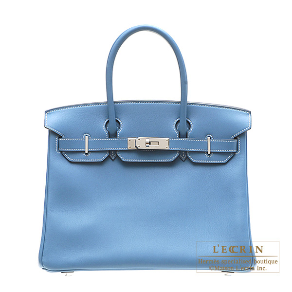 Hermes Birkin bag 30 Blue jean Swift leather Silver hardware