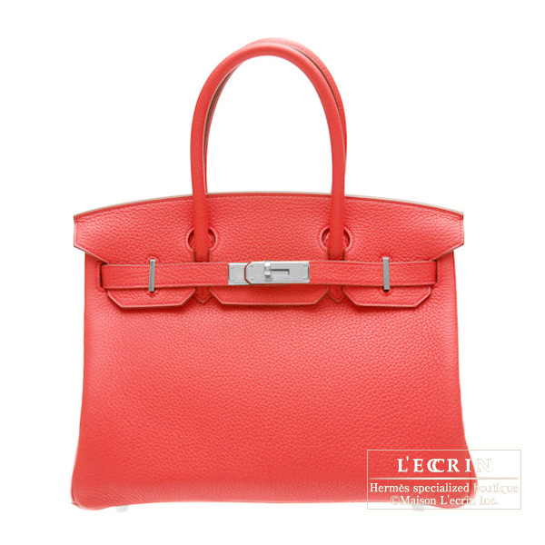 Hermes Birkin bag 30Bougainvillier Clemence leather Silver hardware