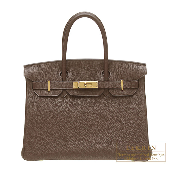 Hermes Birkin bag 30 Chocolate Togo leather Gold hardware