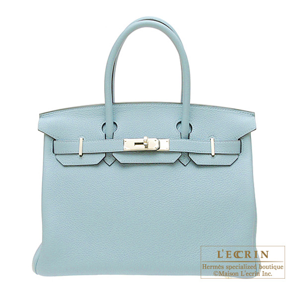 Hermes Birkin bag 30 Ciel/Sky blue Togo leather Silver hardware