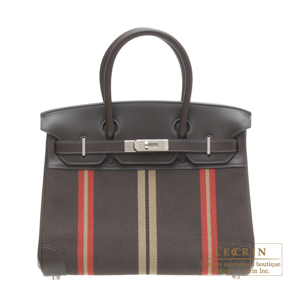 Hermes Birkin bag 30 Ebony Cotton canvas with evercalf leather Silver hardware