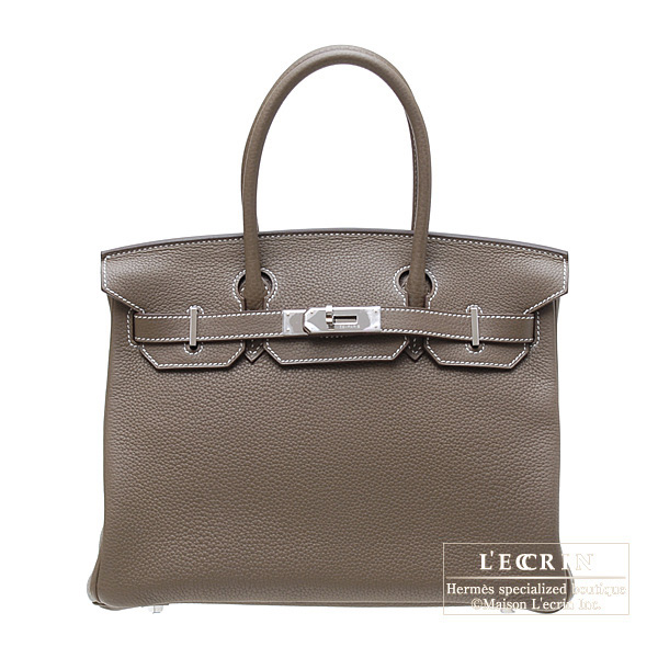 Hermes Birkin bag 30 Etoupe/Taupe grey Clemence leather Silver hardware