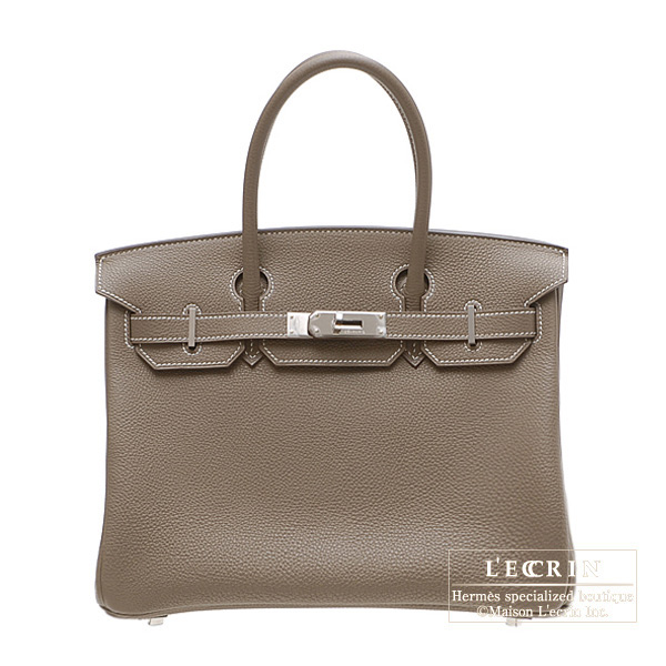 Hermes Birkin bag 30 Etoupe/Taupe grey Togo leather Silver hardware