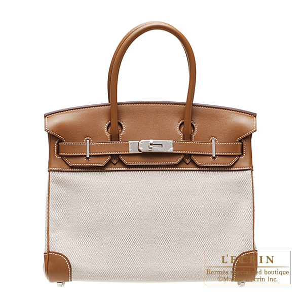 Hermes Birkin bag 30 Gold Cotton canvas with swift leather Silver hardware