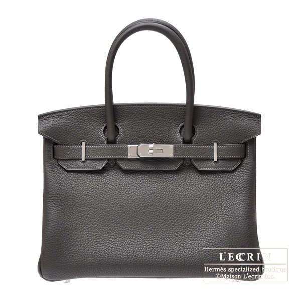 Hermes Birkin bag 30 Graphite Clemence leather Silver hardware