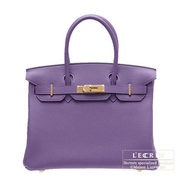 Hermes Birkin bag 30 Iris Togo leather Gold hardware