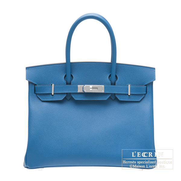 Hermes Birkin bag 30 Mykonos/Mykonos Blue Clemence leather Silver hardware
