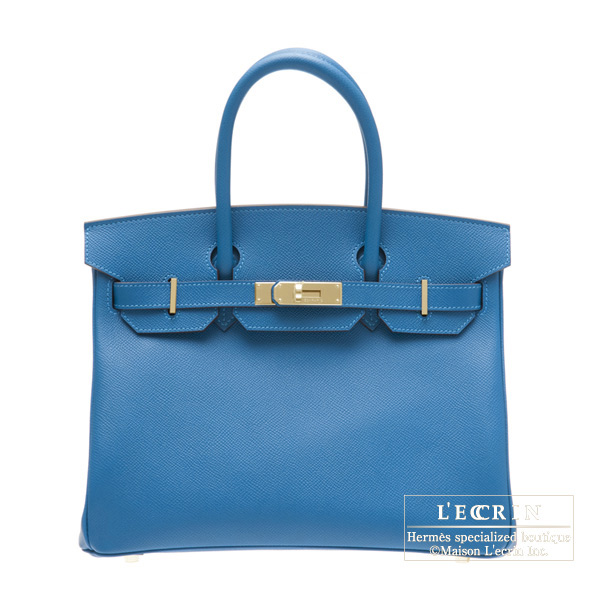 Hermes Birkin bag 30 Mykonos Blue Epsom leather Gold hardware