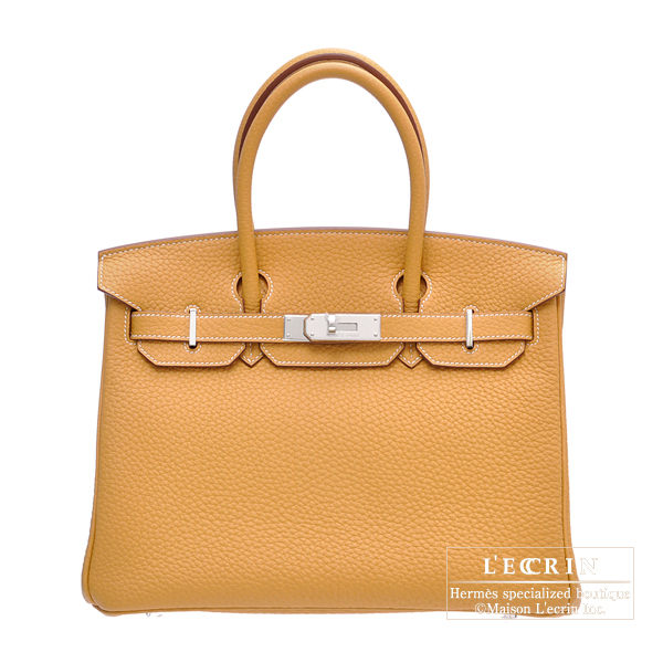 Hermes Birkin bag 30 Natural Fjord leather Silver hardware