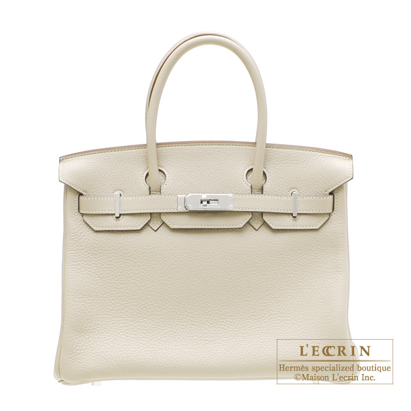 Hermes Birkin bag 30 Pearl Grey Clemence leather Silver hardware